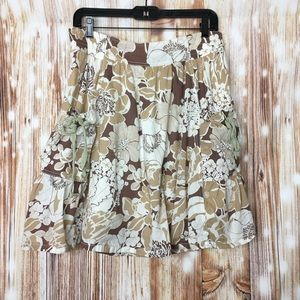 Mossimo  Beige Brown Floral Stretch Waist Skirt